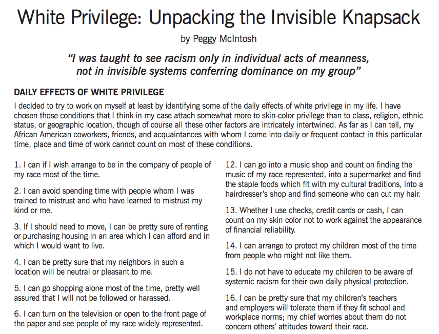 i was taught to see racism only in individual acts of meanness not in invisible systems conferring d White privilege: unpacking the invisible knapsack i was taught to see racism only in individual acts of meanness, not in invisible systems conferring dominance on my group peggy mcintosh through work to bring materials from women's studies into the rest of the curriculum, i.