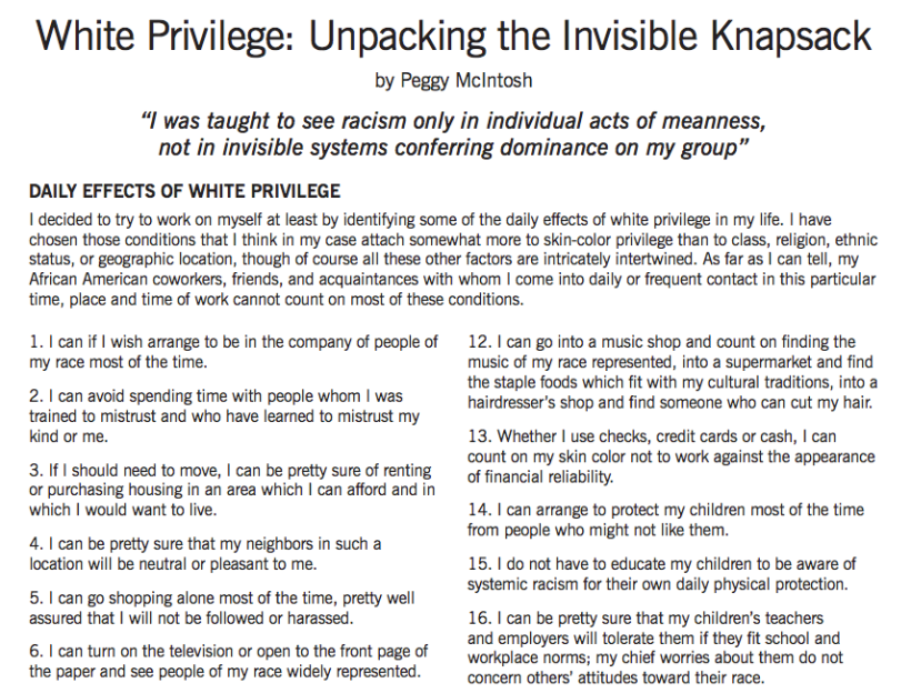unpacking invisible knapsack The invisible backpack of white privilege is pretty decent, i guess i've had one  as long as i can remember my parents said it just showed up in the mail when i.